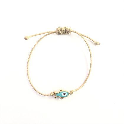 Adjustable Light Blue Fish Bracelet