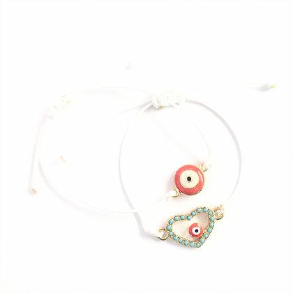 Adjustable Coral Evil Eye Bracelet