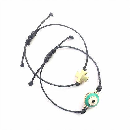Adjustable Green Evil Eye Bracelet