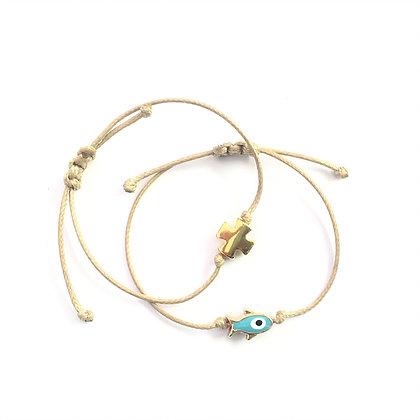 Adjustable Square Gold Cross Bracelet