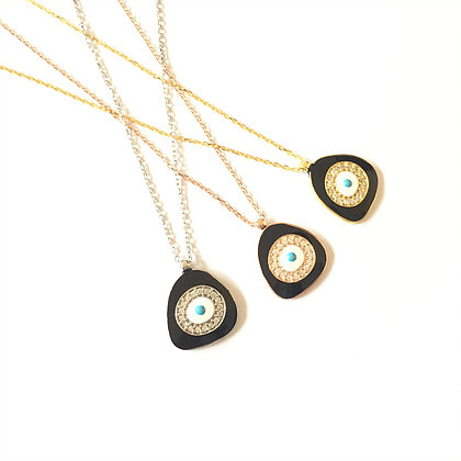 Black Geometric Evil Eye Necklace1