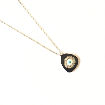 Black Geometric Evil Eye Necklace