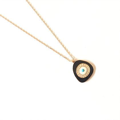 Black Geometric Evil Eye Necklace