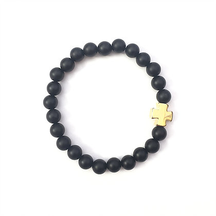 Black Gold Square Cross Bracelet1