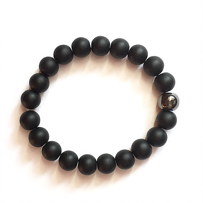 Black Stone Beads & Metal Ball1