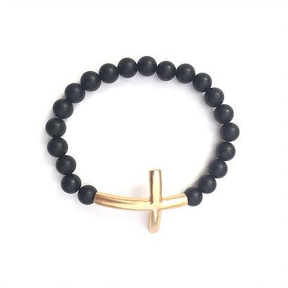 Black Vintage Gold Cross Bracelet