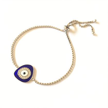 Dark Blue Geometric Evil Eye Bracelet