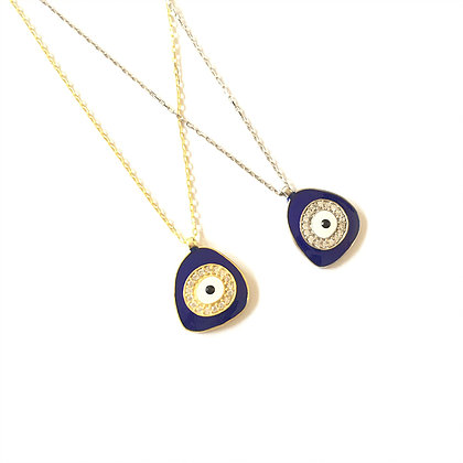 Dark Blue Geometric Evil Eye Necklace1