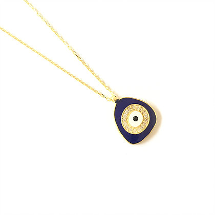 Dark Blue Geometric Evil Eye Necklace