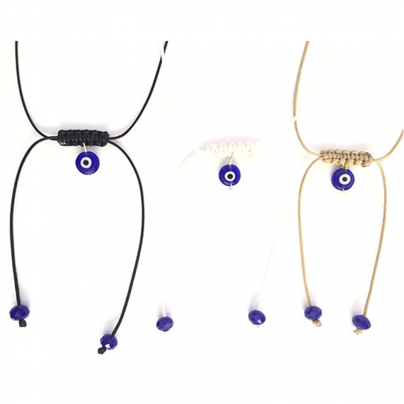 Dark Blue Glass Evil Eye Choker1