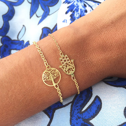 Detailed Hamsa Hand Bracelet