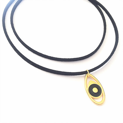 Double Gold & Black Evil Eye Suede Choker1