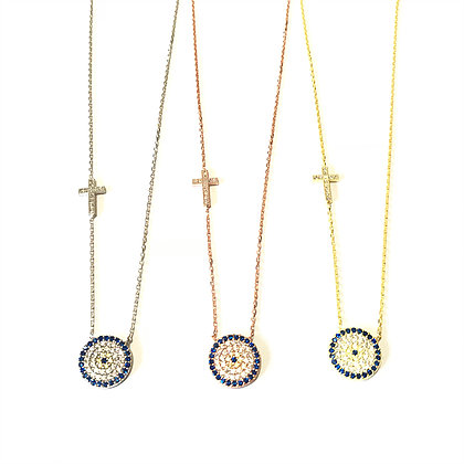 Evil Eye & Cross Necklace1