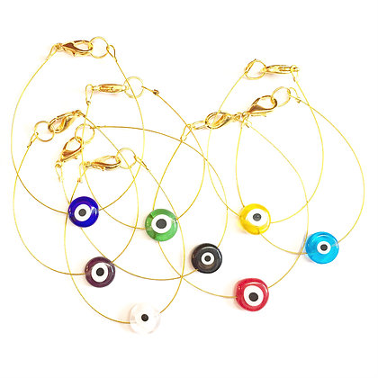 Glass Evil Eye on Gold Wire1