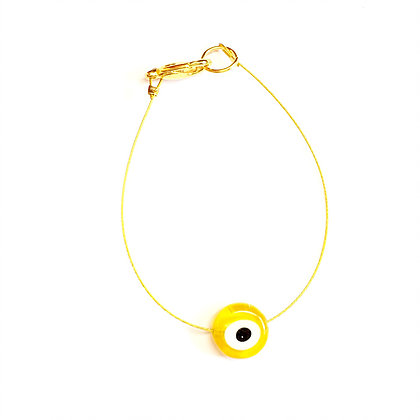 Glass Evil Eye on Gold Wire