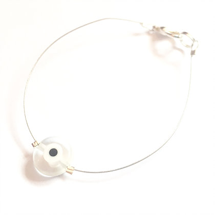 Glass Evil Eye on Silver Wire