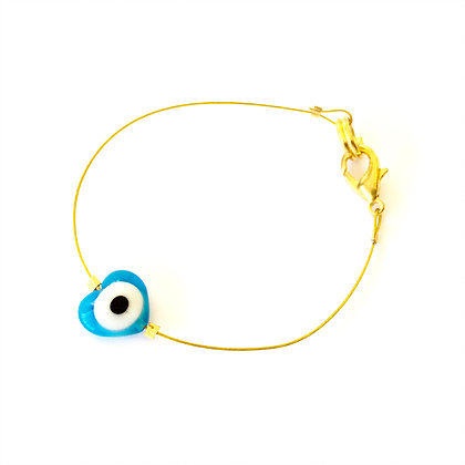 Glass Heart Evil Eye on Wire