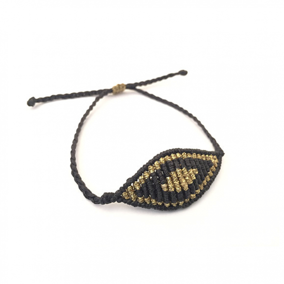 Large Black & Gold Macrame Evil Eye1