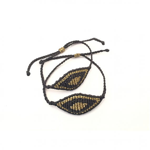 Large Black & Gold Macrame Evil Eye