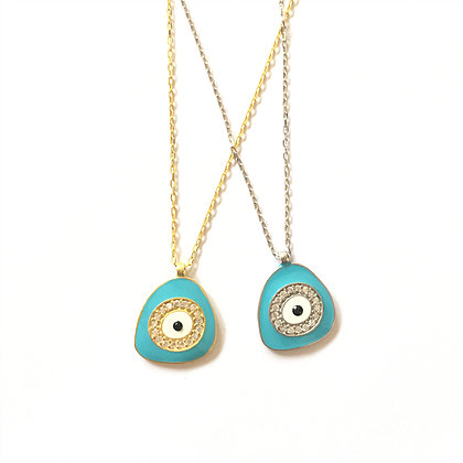 Light Blue Geometric Evil Eye Necklace1