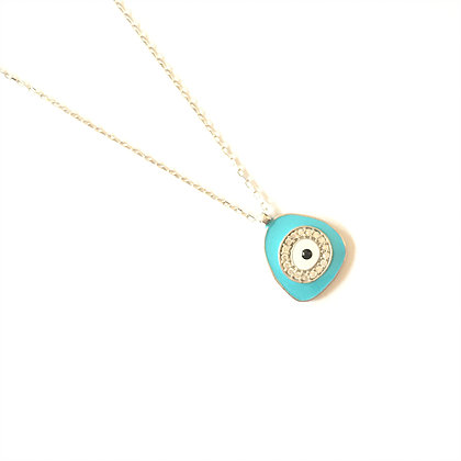Light Blue Geometric Evil Eye Necklace