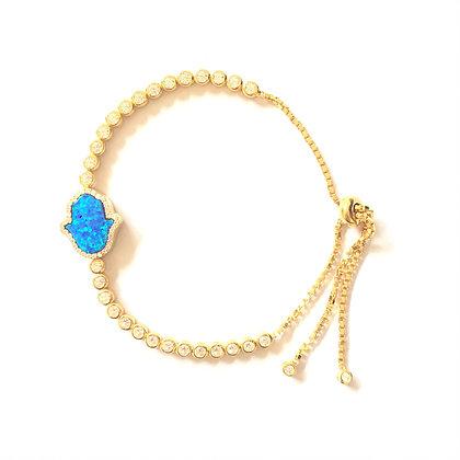 Opal Turquoise Crystal Hamsa Bracelet