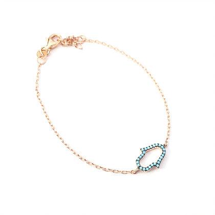 Rose Gold Nano Turquoise Hamsa Bracelet1