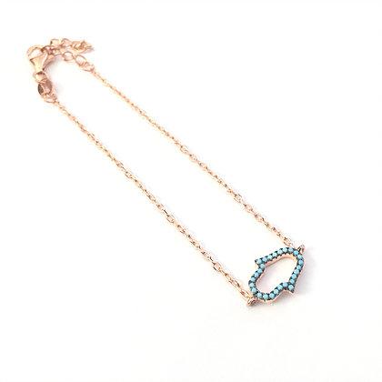 Rose Gold Nano Turquoise Hamsa Bracelet