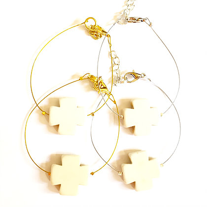 Square Stone Cross on Wire