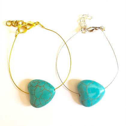 Turquoise Heart on Wire 1
