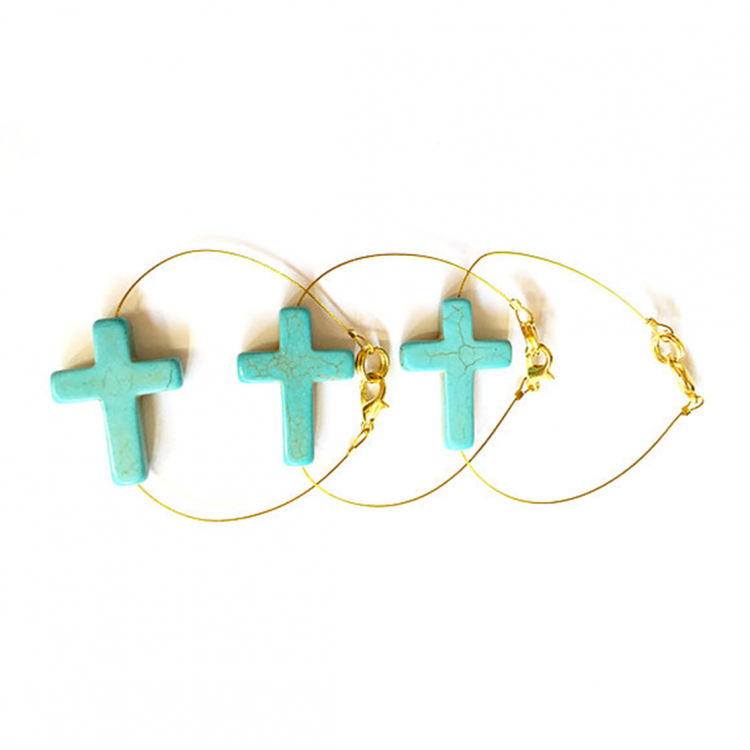 Turquoise Long Cross on Wire
