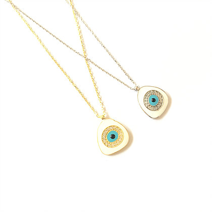 White Geometric Evil Eye Necklace1