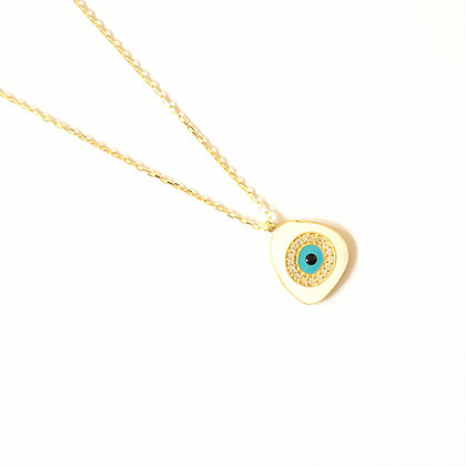 White Geometric Evil Eye Necklace