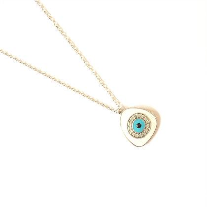 White Geometric Evil Eye Necklace