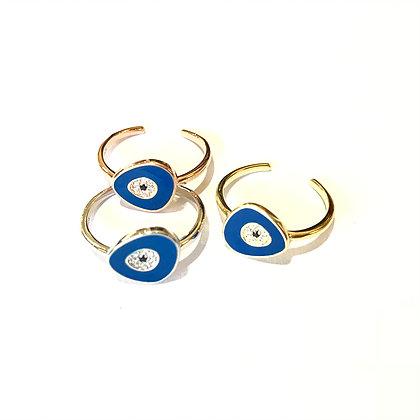 Dark Blue Geometric Evil Eye Ring1