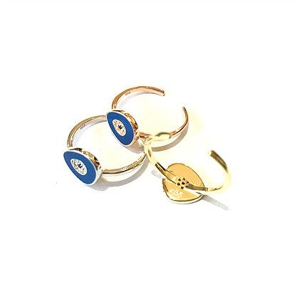 Dark Blue Geometric Evil Eye Ring