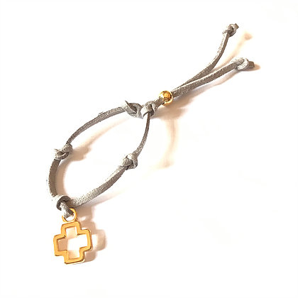 Golden Suede Cross Bracelet