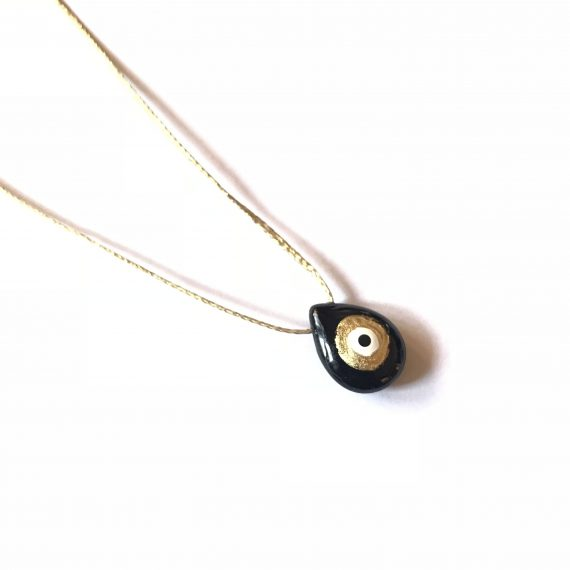 24k Black Onyx Evil Eye Necklace