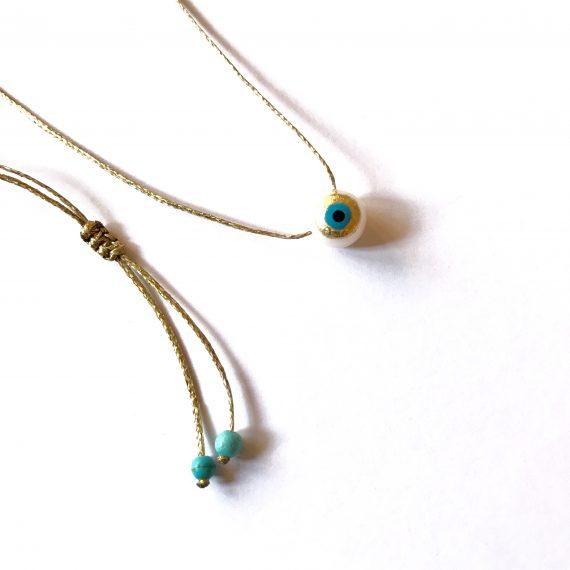 24k Pearl Evil Eye Necklace
