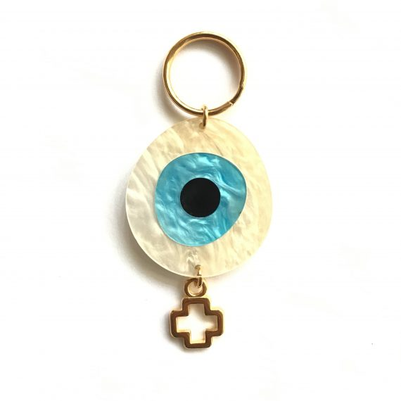 Perspex Eye Keyring Gold