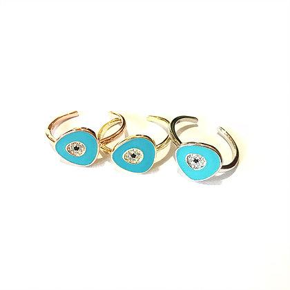 Light Blue Geometric Evil Eye Ring1