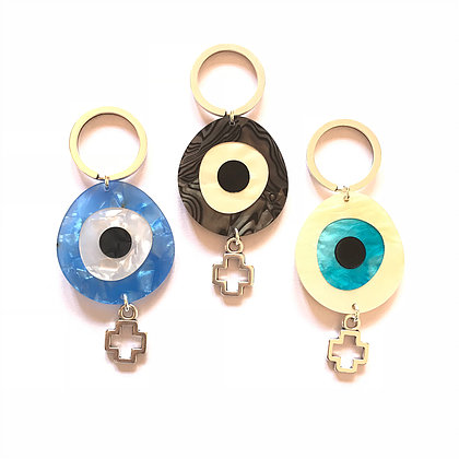 Perspex Eye Keyring Silver1