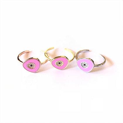 Pink Geometric Evil Eye Ring