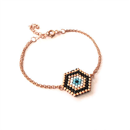 Seed Beaded Geometric Eye Bracelet
