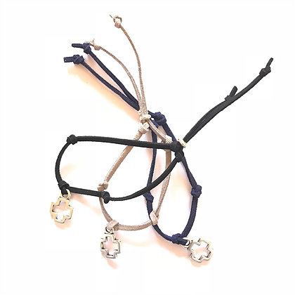 Silver Suede Cross Bracelet1