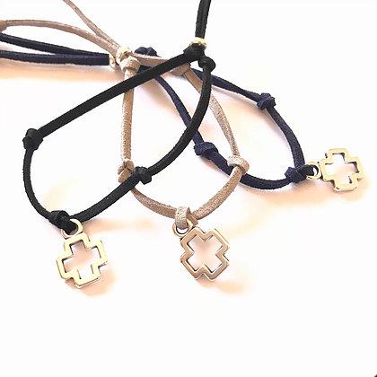 Silver Suede Cross Bracelet