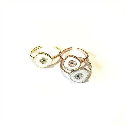 White Geometric Evil Eye Ring1