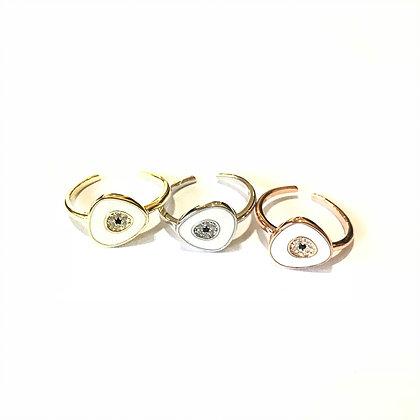 White Geometric Evil Eye Ring