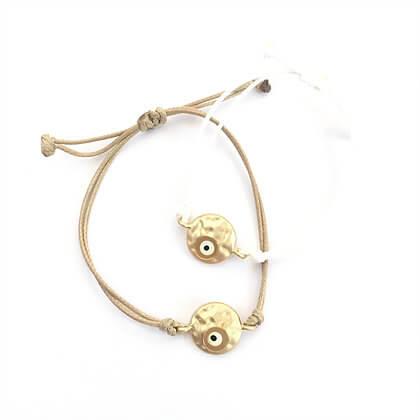 b573a51171a622 Adjustable Gold & Beige Evil Eye Bracelet - Calliopi By Design