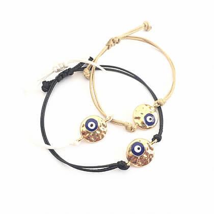 09daa03c7f341b Adjustable Gold & Blue Evil Eye Bracelet - Calliopi By Design